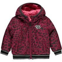 Winterjas Vallie bordeaux leopard & pink reversible