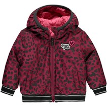 Winterjas Vallie bordeaux leopard & pink reversible
