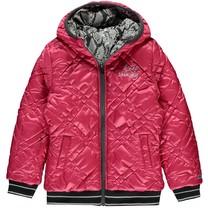 Winterjas Tysia dark grey leopard & pink reversible