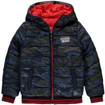 Winterjas Tjeerd dark blue camo & rocky red reversible