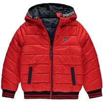 Winterjas Tjeerd dark blue camo & rocky red reversible
