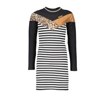Jurk Maura striped with animal fur top part antracite