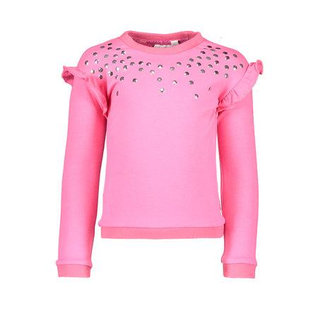 Bampidano Bampidano trui with ruffles + sequins dark pink