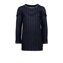 Jurk fancy stripe fabric with ruffles stripe navy