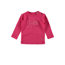 Longsleeve plain hearts/happy dark pink