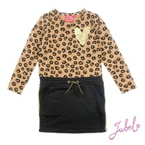 Jurk aop leopard lipstick khaki