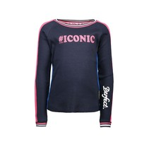 Longsleeve with contrast on top of sleeve, rib on neck and cuff ink blue