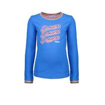 Longsleeve print/embroidery, rib neck/cuff azure blue