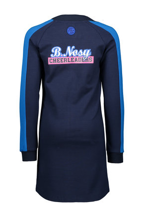 B.Nosy jurk with zipper on front, round hem, contrast parts at sleeve and front yoke ink blue