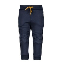 Broek with stitching knee, tape on the side ink blue