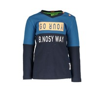 Longsleeve color blocking with print on back panel ink blue