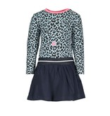 B.Nosy B.Nosy jurkje with slanted skirt and aop top, elastic waistband panther kiss