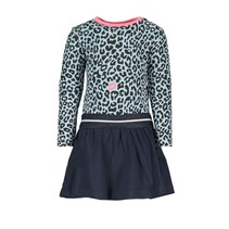 Jurkje with slanted skirt and aop top, elastic waistband panther kiss
