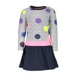 B.Nosy B.Nosy jurkje with slanted skirt and aop top, elastic waistband zigzag dot
