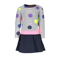 Jurkje with slanted skirt and aop top, elastic waistband zigzag dot