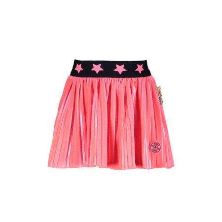 B.Nosy B.Nosy rokje velvet plissé with star wb shocking pink