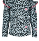 B.Nosy B.Nosy longsleeve ao print with ruffle at shoulder panther kiss