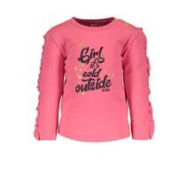 Longsleeve with ruffle on sleeve shocking pink
