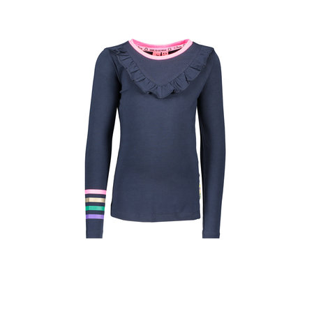 B.Nosy B.Nosy longsleeve with ruffle, printed stripes sleeve, print on back ink blue