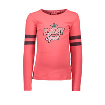 Longsleeve with sequinces on sleeve coral red