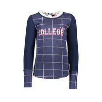 Longsleeve check with picot collar, zipper on back check ink blue