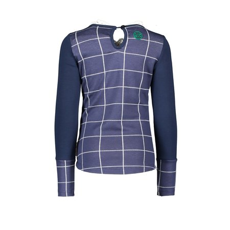 B.Nosy B.Nosy longsleeve check with picot collar, zipper on back check ink blue