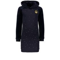 Jurk velvet / sweat hooded navy