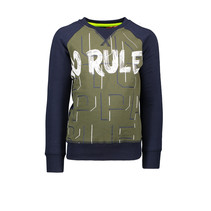 Trui combi panel/ stripes no rules d. army