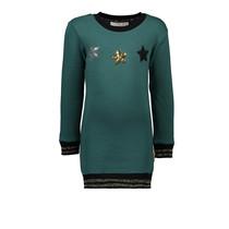 Jurk sweat sequins stars + lurex rib cuffs green