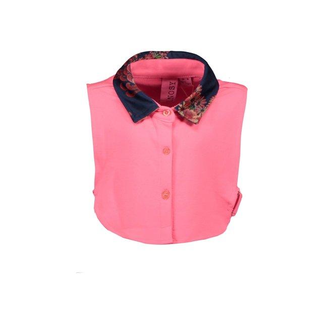 B.Nosy kraagje with printed velours shokking pink