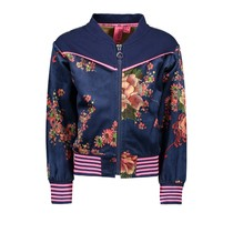 Jasje bomber printed velours with contrast sweat top part blue flower