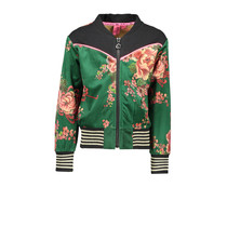 Jasje bomber printed velours with contrast sweat top part flower green