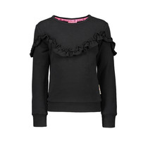 Trui with ruffle detail black