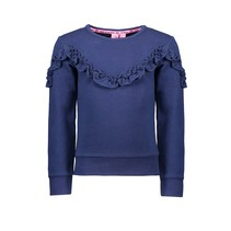 Trui with ruffle detail space blue
