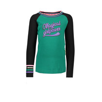 Longsleeve raglan with rib at neck and printed stripe on sleeve emerald green