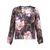 blouse Miki black flower print