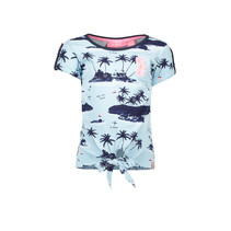 B.Nosy T-shirt knot with ao print aloha blue ao sky delight