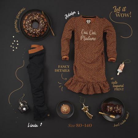 Z8 Z8 jurk Adalyn cognac/leopard