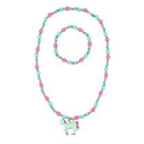 Ketting + armband Aike, eenhoorn roze-mint groen
