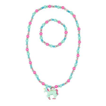 Souza Ketting + armband Aike, eenhoorn roze-mint groen