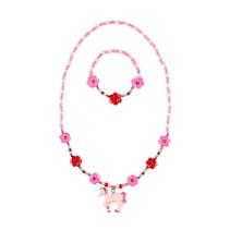 Ketting + armband Angel, eenhoorn roze-fuchsia
