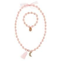 Ketting + armband Zijdre roze