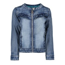spijkerjas with zipper and ruffle on front panel middle denim