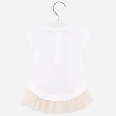 Mayoral Mayoral jurk knitted with tulle white-champagne