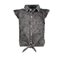 blouse sleeve-less black denim