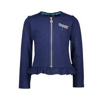 vest glitter scuba cardigan with zipper space blue