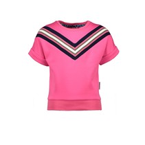 T-shirt scuba with v-shaped rib at front panel pink glo