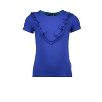 T-shirt with ruffle and zebra artwork on the backpanel princess blue