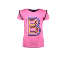 B.Nosy T-shirt with 1x1 rib ruffle at armhole and artwork on chest sugar plum