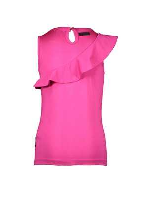 B.Nosy top with slanted ruffle and brass buttons pink glo